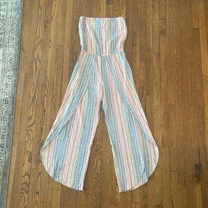 NWT Drew strapless linen blend pastel jumpsuit